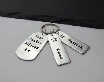 Auntie Keyring, Auntie Gift, Hand Stamped Keyring, This Auntie Belongs To Keyring, Personalised Keyring, Keychain