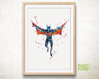 Batman Beyond DC Comics Superhero Wall Art Watercolor Art Poster Print Home Decor Kids Decor Nursery decor [167]