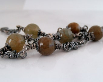 Faceted Quartz Sterling Silver Bracelet. Rustic Oxidized Knot Links. Handmade Knots Chain.