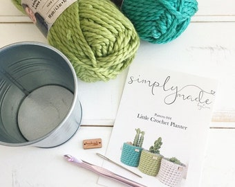 DIY Crochet Kit / Small Crochet Planter Kit / Planters and Pots / Galvanized Steel Flower Pot / Succulent Planter / DIY Mother's Day Gift