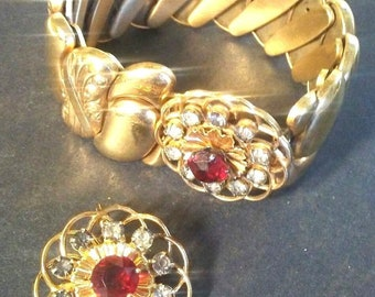 Victorian B&N Bugbee Niles Deco Parure Expansion Red Gold Floret Bracelet w Floret Smaller Matching Brooch