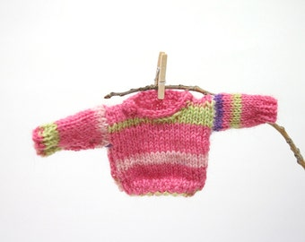 Pink Miniature Sweater- Hand Knitted Pullover- Doll, Bear, Small Pet- Miniature Clothes