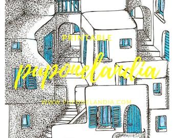 Printable illustration, Printable Art, Greece Town Illustration, Printable Houses sketch, Black and white illustration, Digital Illustration