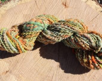 Hand Spun Falling Leaves Spiral Plyed Art Yarn