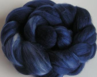 Roving Top Fiber Merino Silk Top MIDNIGHT Blue on Velvet 50 50 Silk Merino Spin Felt Nuno Craft Roving 2 ounces