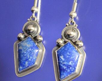 Lapis Earrings Handmade Sterling Silver Free Shipping