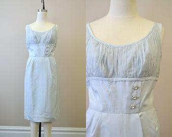 1950s Ice Blue Silk Wiggle Dress