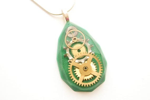 Steampunk Green Faceted Tear Drop Pendant / Necklace, Watch Parts , Gears, Cogs in Resin, Sterling Silver Chain