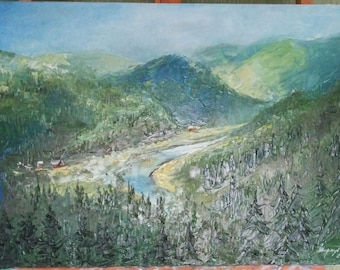 Oil painting on canvas Landscape oil painting Canvas art Original mountain art OOAK wall art Unique gift Christmas gifts Fine art painting