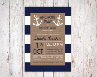 Nautical Baby Shower Invitation for Twins
