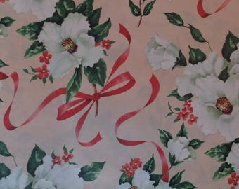 Vintage Gardenia Tied In Pink Ribbons Cottage Garden Gift Wrap Wrapping Paper