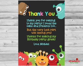 Thank you cards etsy il little monster thank you card matching birthday invitation monster boy party invite thank you note stopboris Image collections