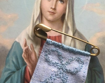 Handsewn All Vintage Miraculous Medal on Linen