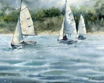 Fine art print. Sailing boats on Textured Fine Art Paper