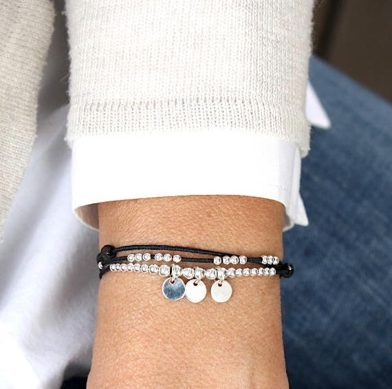 cord woman bracelet triple towers pellets and beads 925 sterling silver