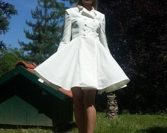 evening white dress / women jacket dress /women white dress / dress with collar / evening / wedding dress sleeves / wedding sleeves / collar