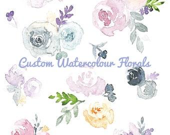 Custom Floral Painting, Original Watercolour Flowers, Design Your Own Floral Pattern, Flower Bouquet Art, Flower Wreath Painting