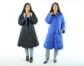 1980s Puffer Coat Reversible Quilted Trench Blue Black Scalloped Vintage 80s Small S Totes Jacket Raincoat