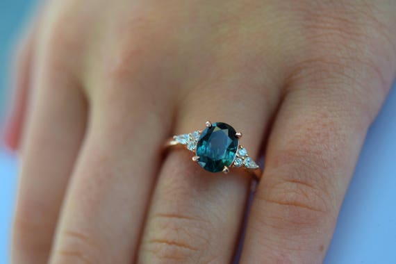 Teal sapphire engagement ring. Peacock green sapphire 3ct oval diamond ring 14k Rose gold. Campari Engagement ring by  Eidelprecious.