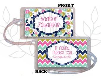 School Backpack Tag, Luggage tag, Diaper Bag, Kids backpack tag, Back to school, School bag tag, Identification bag tag, girl bag tag
