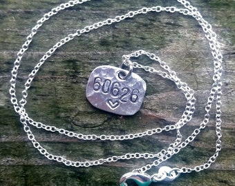 """Zip Code Handstamped pendant with 19"""" silver chain - FREE SHIPPING - Chicago, Rogers Park, Illinois, 60626"""