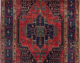 """4'3"""" x 8'6"""" Vintage Persian Rug, Persian Antique Rug, Handmade, Hand-Knotted Rug, Navahand"""