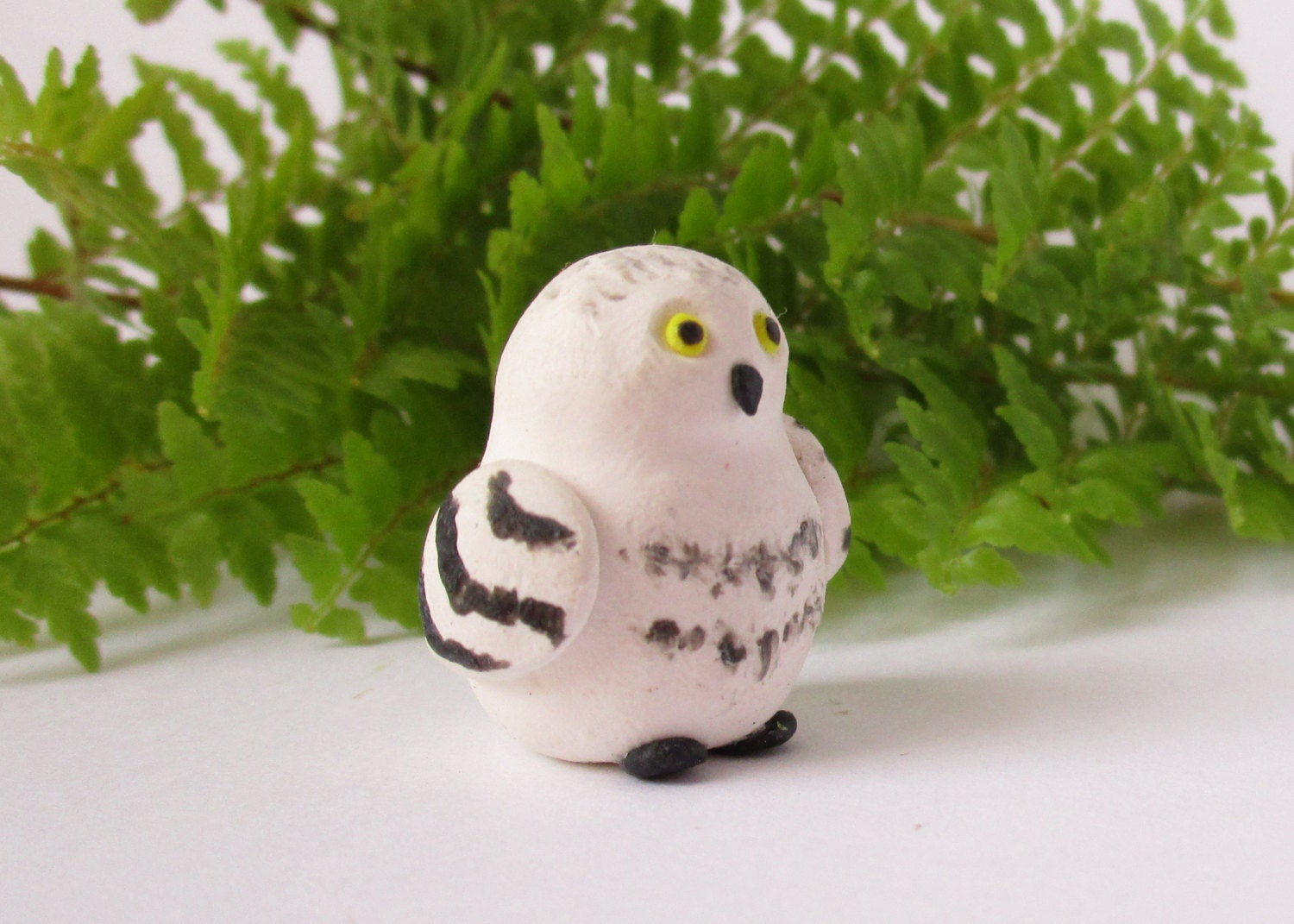 Polymer Clay Owl Handmade White Owl Figurine Sculpture