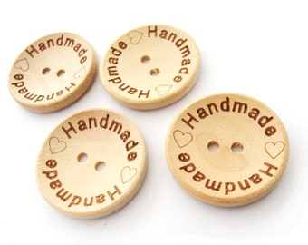 Natural unfinished wood button with handmade logo engraved (BB118C)