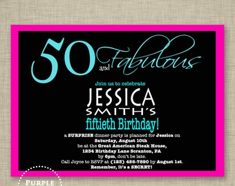 Aqua Blue and Pink 50th Birthday Invitation Surprise Party Invite Dinner Party Invite Adult Party Invite - Printable JPG File Invite (32)