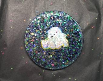 Shiny Glitter Bomb Drink Coaster ~ Cute Polar Bear Family