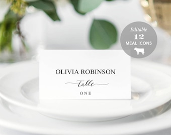 Wedding Place Card Printable, Place Card Template, Meal Choice Selection, Table Number Name Card Seating Card Instant Download PDF #SPP007pc