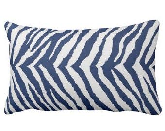 outdoor pillows, animal print pillow, navy outdoor pillow, zebra outdoor pillow, blue white pillow, throw pillow, pillow cover, chair pillow