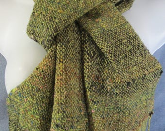Debris - handwoven wool scarf in greens and browns with hints of many other colors