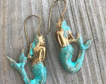 Hand Patina Mermaid Earrings