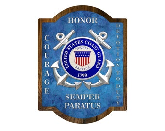 COAST GUARD Military Plaque USCG Wooden United States Gift Retirement Promotion Veteran Wall Hanging Large Sign