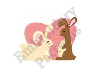 Romantic Bunnies - Machine Embroidery Design