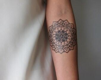 Small Mandala B, Hand Drawn Temporary Tattoo