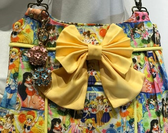 "Sailor Moon ""Inner Senshi/Scouts"" Classic Print with Yellow Faux Leather Base"