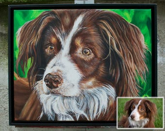 11in x 14in – Custom Pet Portrait Painting from Photo, Dog Painting, Cat Painting, Memorial, Animal Lover Gift, Time-Lapse, Frame Included