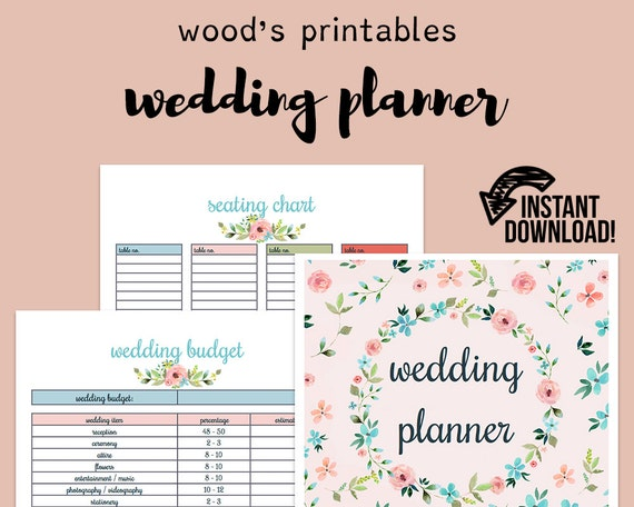 Printable Wedding Planner Binder Planning A Rustic: Wedding Planner Wedding Binder Wedding Planner Book Wedding