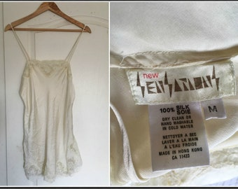 Vintage 1980s New Sensations Champagne 100% Silk Baby Doll - Size Medium