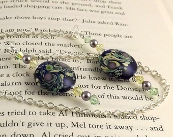 Portia Lampwork Glass Swarovski Crystal and Chain Bookmark aka Book Thong a perfect addition to your library