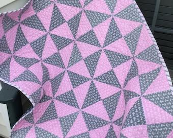 Baby Quilt - Patchwork Quilt - Crib Quilt  - Lap Quilt - Pink and Grey Quilt - Homemade Quilt - Anchor Quilt - Patchwork Quilt
