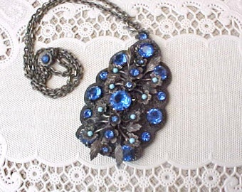 Most Unusual and Gorgeous Art Deco Jeweled Combination Necklace and Fur Clip