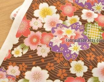 Japanese Flower Fabric/  Gilding Cherry Blossom Floral Fabric/ Shabby Chic Fabric/ Sakura Kimono Fabric- 1/2 Yard