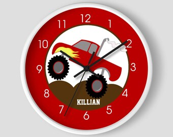 Monster Truck Boys Room Toddler Wall Clock / Red with Flame on side / Monster Trucks Room Decor