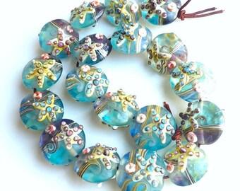 10 pieces Small 15mm Starfish Lampwork Glass Beads, Animal Ocean Beads