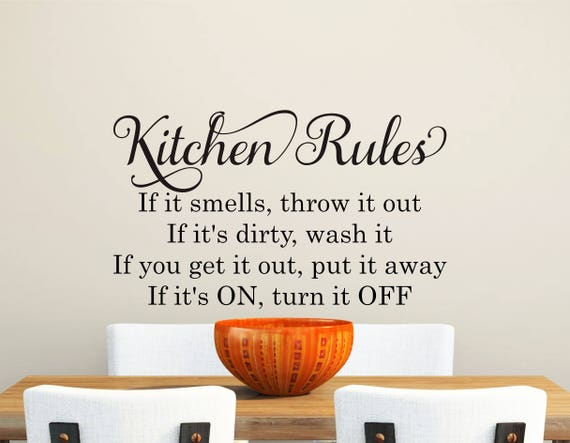 Kitchen Wall Decal-Kitchen Rules-Wall Decal Quotes-Removable
