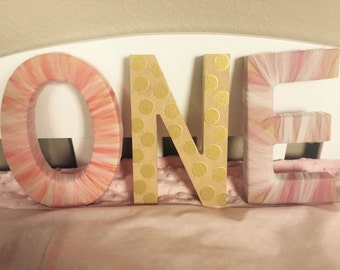 Wood decorated letters photo prop 1st birthday