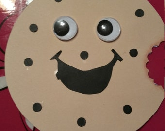 Adorable handmade Googly eyed chocolate chip cookie birthday invitations. Set of 10.